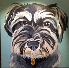 Tyler Helfrich puppy portraits acrylic painting #cockapoo