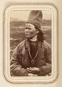 Portrait of Inga Kajsa Granström, aged 22, from Tuorpon Sami village. By Lotten von Düben, 1868. It's amazing to me that all these portraits are from the 1860's. They seem so natural, certainly for the time. And von Düben (a baroness) is up there in the north of Sweden, lugging around a huge box camera, getting people to pose for her and to sit still for the long exposures at that. And creates a really nice collection of photos!