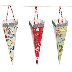Christmas Paper Cone Tree Decorations