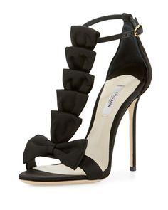 Olgana La Delicate Bow T-Strap Sandal, Black
