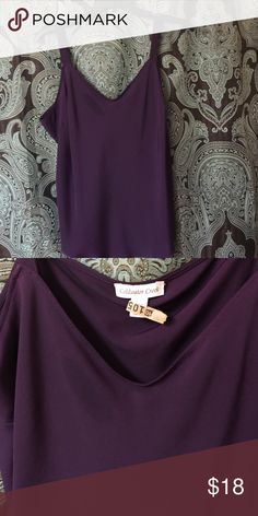 Top 💥💥📢📢 Camisole style top. Nice width on straps. Not thin. Slight v neck and round hem. Silky feeling material that is silk and polyester. Great layering piece. Beautiful eggplant color.💥💥‼️. 🌼thank you for browsing my closet🌼 Coldwater Creek Tops Camisoles