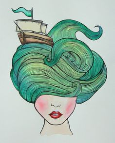 Image uploaded by MANUELA FRANCO. Find images and videos on We Heart It - the app to get lost in what you love. Ocean Hair, Wal Art, Art Inspo, Watercolor Art, Art Projects, Art Drawings, Abstract Art, Illustration Art, Artsy