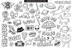 doodles grunge graffiti vector tattoo trippy easy drawings tattoos flash drawing pack star creativemarket levi 13th friday