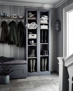 Grey boot room with open shelves, pegs for coats and a bench for perching on. Grey boot room with open shelves, pegs for coats and a bench for perching on.,~Interior~ Grey boot room with. Boot Room, Room Design, Interior, Home, Hallway Storage, Foyer Decorating, Boot Room Utility, Laundry Room Design, Scandinavian Interior Design