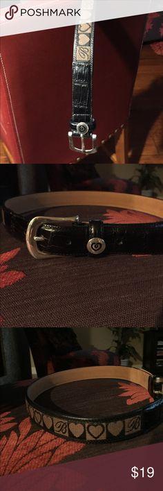 Brighton black & brown leather belt medium Brighton black & brown leather belt medium.  Silver buckle.  Like new.  Medium.  34 inches Brighton Accessories Belts