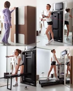 Great idea to hide gym equipment in office or bedroom furniture or built-ins