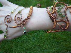 Green and Copper Wire Cuff Bracelet. via Etsy.