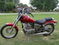 Honda Rebel 250 red 1986  I loved the candy apple red color. My bike had a few more accessories and was cleaner, but you get the idea. Miss that bike.