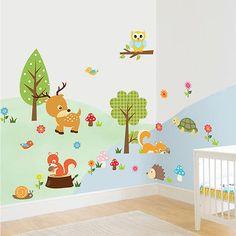 Kinderzimmer wandgestaltung wald  Wandtattoo Wald Sticker Lustige Tiere Baum Wandbild Affe Groß ...