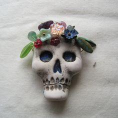 Polymer skull Day of the Dead focal pendant by jdaviesreazor, $25.00