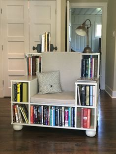 want some creative DIY bookshelf chair inspirations? then you must explore these 5 DIY Bookshelf Chair Plans that are looking divine and allows amazing storage cubbies Cool Bookshelves, Bookshelf Plans, Bookshelf Design, Bookshelf Ideas, Bookshelf Inspiration, Ladder Bookcase, Diy Bookshelf Chair, Book Shelf Chair, Homemade Bookshelves