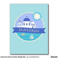 Santorini Greece Retro Badge Illustration Postcard @zazzle #junkydotcom July 16 2016