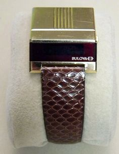 Vintage Bulova Computron Men's Driver's LED Wrist Watch with Red LED Sideview Display.