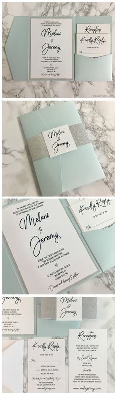 This Light Blue and Silver glitter Wedding invitation is timeless!