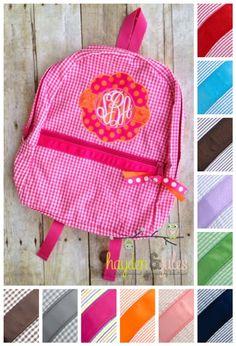 Applique Frame Hot Pink and Orange Seersucker or Gingham Backpack 3e05f0693eff7