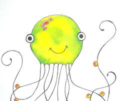 Items similar to Childrens Art Sea Life Octopus print.great for a child's room or nursery on Etsy Cute Octopus, Octopus Print, Kids Room, Super Cute, Sew, Nursery, Ocean, Children, Crafts