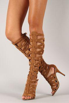 Italy-02 Suede Studded Gladiator Knee High Stiletto Heel