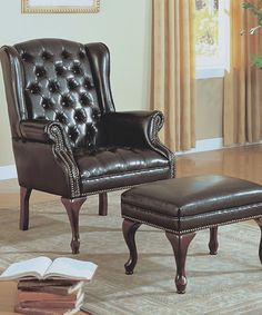 Look at this #zulilyfind! Dark Brown Faux Leather Accent Chair & Ottoman by Monarch Specialties #zulilyfinds