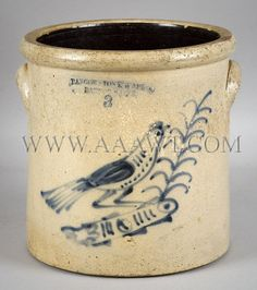 AAAWT Main House Antiques Galleries - Stoneware Crock with Cobalt Bird Decoration Bangor Stoneware Co. - SOLD