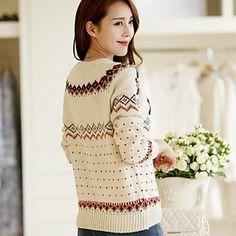 Women's Fashion Embroidery Print Buckles Long Sleeve Sweater – MXN $ 439.49