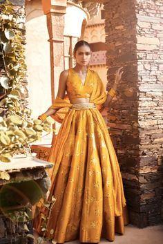 Find Most loved mango colour lehengas for brides and bridesmaids. Trending mango coloured lehenga designs worn by real brides must check out. Indian Lehenga, Lehenga Choli, Sari, Indian Bridal Sarees, Sharara, Sabyasachi, Indian Bridal Outfits, Indian Designer Outfits, Lehenga Designs