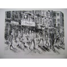 Bar Italia Soho, limited edition etching by Toni Martina who recently exhibited at the Royal Academy Summer Exhibition Run of 70 all signed and numbered 60cm x 45cm www.printslondon.com