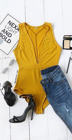 T- Strap Plunge Sleeveless Bodysuit Mustard
