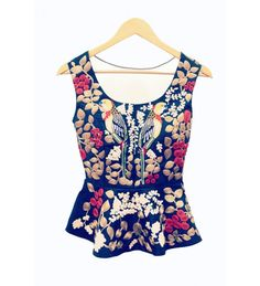 navy blue peplum style bird embroidered waistcoat by popular designers in india