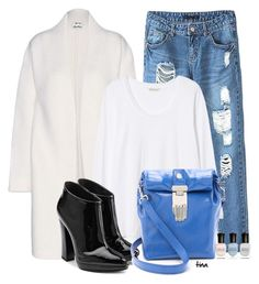 """White Coat & Blue Distressed Skinny Jeans"" by matulik77 ❤ liked on Polyvore featuring Acne Studios, Rebecca Taylor, Giuseppe Zanotti, Opening Ceremony, Deborah Lippmann, booties, jeans and fallfashion"