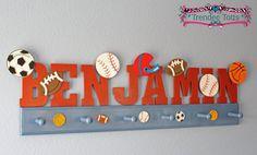 Sports Themed Coat Hat rack with Name Boys room Nursery letters Bedroom letters Sports letters Sports team Kids room decor Football Baseball
