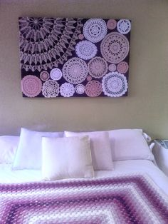 Room decoration with crochet doilies