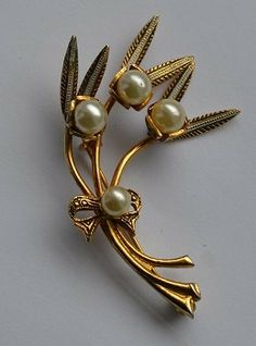 60s Pearl and Gold Tone Brooch by VeryVintageClothing on Etsy, £10.00