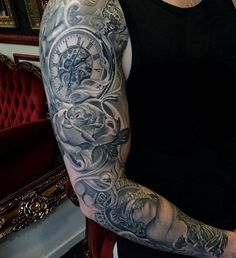 Relistic clock and rose full sleeve tattoo for man - 100 Awesome Watch Tattoo Designs