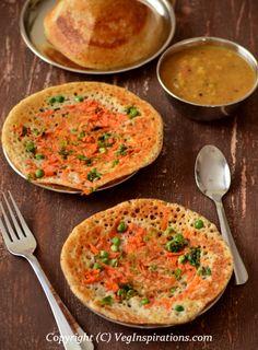 How to make Quinoa Flax Uthappam ~ Quinoa alsi uthappam ~ Savory Indian veggie topped pancakes with quinoa ~ Quinoa dosa. Quinoa Indian Recipes, Veg Recipes, Vegetarian Recipes, Cooking Recipes, Healthy Recipes, Millet Recipes, Recipies, Healthy Foods, Indian Breakfast