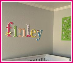 Custom Wooden Letters Baby Girl Nursery by dwellingonline Baby Girl Nursery Decor, Nursery Wall Decor, Nursery Ideas, Baby Room, Room Ideas, Rainbow Nursery, Rainbow Baby, Hanging Wooden Letters, Diy Baby Gate