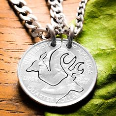 Buck and Doe Necklace Set for Couples, Interlocking Cut Coin