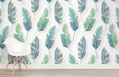 White and Green Tropical Leaf Wallpaper | Mural Wallpaper