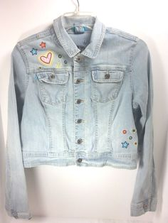 597c15adcb Denim Jean Jacket Size XL Juniors Zana Di Embroidered USA Patch Hearts  Stars  ZanaDiJeans