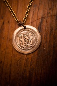Bronze Wax Seal Initial Necklace