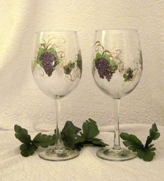 Purple+grape+hand+painted+pair+of+wine+glasses+by+DeannaBakale,+$36.00
