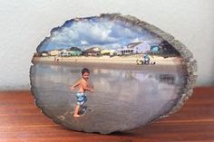 Learn how to easily transfer any photo onto a slice of wood.