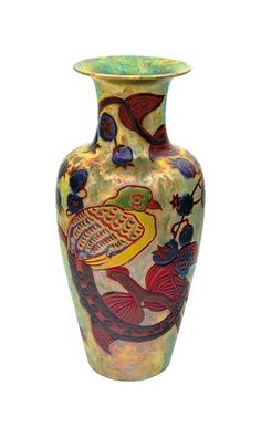 Zsolnay - Vase with Bird of Paradise and Medlar-tree branch, Zsolnay, Design by: Nikelszky, Géza Ceramic Pottery, Pottery Art, Pre Raphaelite, Porcelain Vase, Tile Art, Earthenware, Tree Branches, Handicraft, Art Nouveau