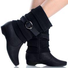 Black Buckle Knit Winter Warm Casual Low Heel Women Mid Calf Boots