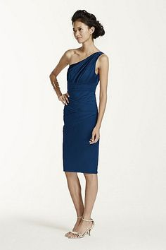 MORE COLORS One Shoulder Stretch Satin Short Dress Style 85106 In Store & Online $139.00$99.99 to $69.99