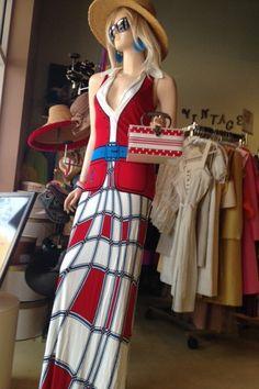 Vintage Roberta di Camerino red/white/blue by DinaCsFabFunkyBoutiq