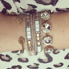 Summer arm party with #stelladotstyle - Eden bangle, Cady wrap bracelet and the Amelie bracelet in white/gold.