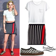 Kristen Stewart attended the opening ceremony dinner at the annual 69th Cannes Film Festival wearing a Chanel Pocket Crop Tee (Not available online), a Barrie Striped Cashmere Skirt ($171.00) and Vans Checkerboard Authentic Sneakers ($47.00). You can find a similar tee at Everlane ($15.00 – pictured).