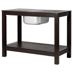 KLÖVEN Sideboard with ice bucket, outdoor dark brown - IKEA Outdoor Coffee Tables, Outdoor Serving Cart, Picnic Tables, Charcoal Bbq, Steel Wool, Diy Desk, Work Surface, Table And Chairs, Sideboard