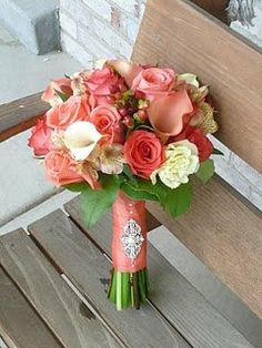 Fall Spring Green Ivory Orange Bouquet Wedding Flowers Photos & Pictures - WeddingWire.com