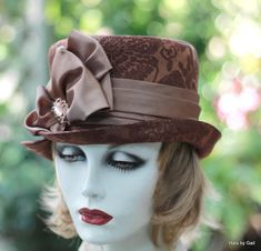 Vintage Style Edwardian Riding Hat, Bucket SteamPunk Hat in Copper Cinnamon Rust Brown Damask Fabric.